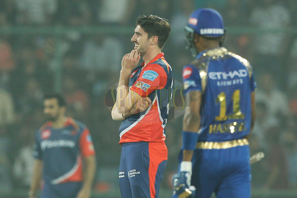 Pat Cummins of the Delhi Daredevils reacts during match 45 of the Vivo 2017 Indian Premier League between the Delhi Daredevils  and the Mumbai Indians  held at the Feroz Shah Kotla Stadium in Delhi, India on the 6th May 2017<br /> <br /> Photo by Deepak Malik - Sportzpics - IPL