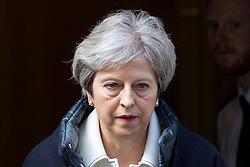 © Licensed to London News Pictures. 16/04/2018. London, UK. British Prime Minister Theresa May leaves 10 Downing Street to make a statement to MPs on Britain's decision to launch airstrikes on a Syrian chemical weapons facility over the weekend. MPs today return from Easter recess. Photo credit : Tom Nicholson/LNP