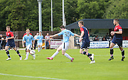 Dougie Crow fires home Dundee's third and winning goal - Highland League Turriff United v Dundee under 20s - pre-season friendly at The Haughs, Turriff<br /> <br />  - &copy; David Young - www.davidyoungphoto.co.uk - email: davidyoungphoto@gmail.com