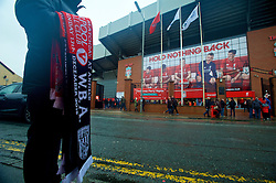 LIVERPOOL, ENGLAND - Sunday, December 13, 2015: Match scarves on sale before the Premier League match of Liverpool against West Bromwich Albion at Anfield. (Pic by James Maloney/Propaganda)