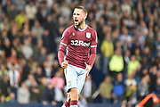 Aston Villa midfielder Conor Hourihane (14) scores his penalty and celebrates during the EFL Sky Bet Championship play-off second leg match between West Bromwich Albion and Aston Villa at The Hawthorns, West Bromwich, England on 14 May 2019.