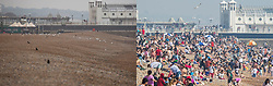 © Licensed to London News Pictures. 28/04/2018. Brighton, UK. An abandoned beach on a cold and damp day at Brighton seafront today, Saturday April 28 (LEFT), compared to the same time last week, Saturday April 21st (RIGHT), when the beach was packed in one of the hottest days on record for April. Photo credit: Hugo Michiels/LNP