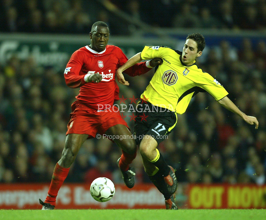 LIVERPOOL, ENGLAND - Saturday, January 10, 2004: Liverpool's Emile Heskey and Aston Villa's Peter Whittingham during the Premiership match at Anfield. (Photo by David Rawcliffe/Propaganda)