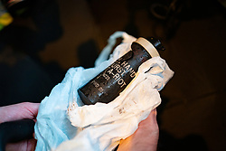 Hong Kong. 6 October 2019. Tens of thousands of pro-democracy protestors march in pouring rain through centre of Hong Kong today from Causeway Bay to Central. Peaceful march later turned violent as a hard-core of protestors confronted police. Pic; detail of large tear gas canister found on street. Iain Masterton/Alamy Live News.