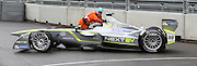 Oliver Turvey getting a push from a marshall after going off the track in qualification during the FIA Formula E Visa London ePrix  at Battersea Park, London, United Kingdom on 28 June 2015. Photo by Matthew Redman.