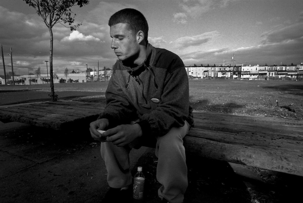 BALTIMORE--10/23/99-- Jim Phelps sits on a bench at the ABC park in Southwest Baltimore a few minutes after shooting up. Only one week before he had checked himself into a rehab in an effort to get cleaned up, but he walked out after 3 days....by ANDRE F. CHUNG