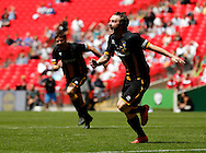Luke Carr of Morpeth Town AFC celebrates scoring to make it 1-2 during the FA Vase Final at Wembley Stadium, London<br /> Picture by Simon Moore/Focus Images Ltd 07807 671782<br /> 22/05/2016