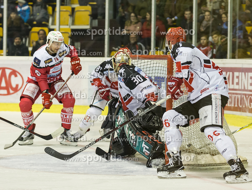 17.02.2017, Stadthalle, Klagenfurt, AUT, EBEL, EC KAC vs HC TWK Innsbruck, 52. Runde Plazierungsrunde, im Bild Jamie Lundmark (EC KAC, #74), Nick Ross (HC TWK Innsbruck, #81), Andy Chiodo (HC TWK Innsbruck, #30), Mario Huber (HC TWK Innsbruck, #96) // during the Erste Bank Eishockey League 52nd match at preliminary round betweeen KAC vs HC TWK Innsbruck at the City Hall in Klagenfurt, Austria on 2017/02/17. EXPA Pictures © 2017, PhotoCredit: EXPA/ Gert Steinthaler