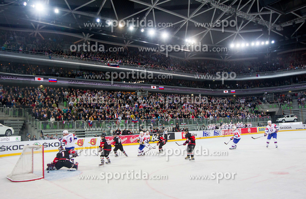 Slovenia scores during ice-hockey match between Slovenia and Japan at IIHF World Championship DIV. I Group A Slovenia 2012, on April 16, 2012 in Arena Stozice, Ljubljana, Slovenia. Slovenia defeated Japan 4-2. (Photo by Vid Ponikvar / Sportida.com)