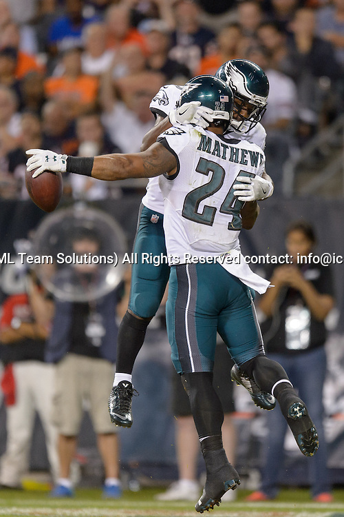 19 September 2016: Philadelphia Eagles Running Back Darren Sproles (43) [7757] and Philadelphia Eagles Running Back Ryan Mathews (24) [9040] celebrate a Matthews touchdown during an NFL football game between the Philadelphia Eagles and the Chicago Bears at Solider Field in Chicago, IL. The Philadelphia Eagles won 29-14. (Photo by Daniel Bartel/Icon Sportswire)