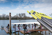 """Hammersmith. London. United Kingdom,  Hammersmith. London.  General View, """"Oar Handles"""", Furnivall SC, 2018 Men's Head of the River Race.  Championship Course, River Thames, 2018 Men's Head of the River Race. , Championship Course, Putney to Mortlake. River Thames, <br /> <br /> Sunday   11/03/2018<br /> <br /> [Mandatory Credit:Peter SPURRIER Intersport Images]<br /> <br /> LEICA CAMERA AG  LEICA Q (Typ 116)  1/2500 sec. 28 mm f.3.5 200 ISO.  42.5MB"""