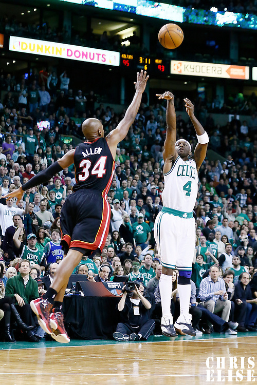 27 January 2013: Boston Celtics shooting guard Jason Terry (4) takes a jumpshot over Miami Heat shooting guard Ray Allen (34) during the Boston Celtics 100-98  2OT victory over the Miami Heat at the TD Garden, Boston, Massachusetts, USA.