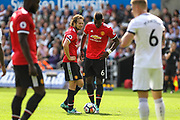 Daley Blind and Paul Pogba of Manchester United during the Premier League match between Swansea City and Manchester United at the Liberty Stadium, Swansea, Wales on 19 August 2017. Photo by Andrew Lewis.