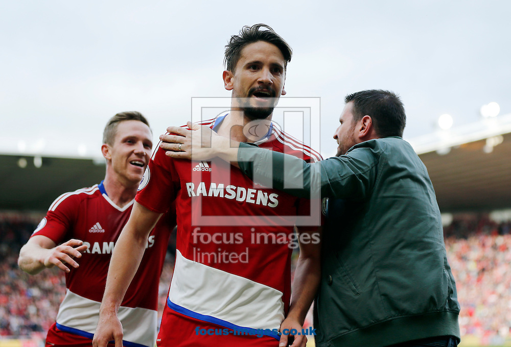 Gaston Ramirez (c) of Middlesbrough celebrates scoring the opening goal  during the Premier League match at the Riverside Stadium, Middlesbrough<br /> Picture by Simon Moore/Focus Images Ltd 07807 671782<br /> 29/10/2016