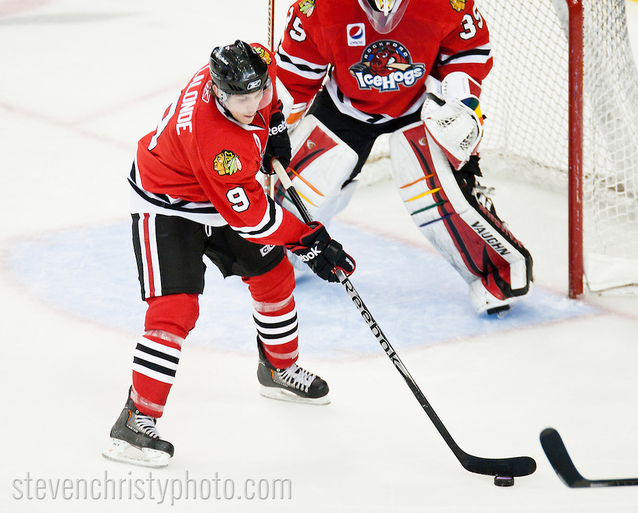 April 1, 2011: The Oklahoma City Barons play the Rockford IceHogs in an American Hockey League game at the Cox Convention Center in Oklahoma City.