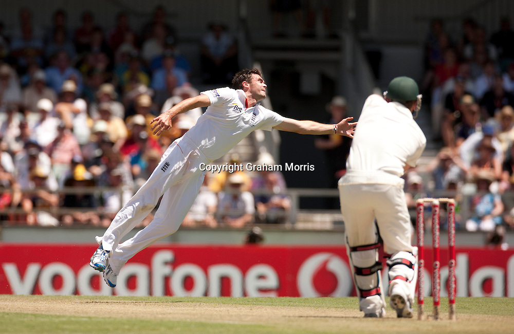 James Anderson fields off his own bowling during the third Ashes test match between Australia and England at the WACA (West Australian Cricket Association) ground in Perth, Australia. Photo: Graham Morris (Tel: +44(0)20 8969 4192 Email: sales@cricketpix.com) 16/12/10