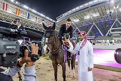 BRASH Scott (GBR), Hello Shelby<br /> Doha - CHI Al SHAQAB 2020<br /> Siegerehrung<br /> Int. jumping competition with jump-off (1.55/1.60 m) - CSI5* <br /> 28. Februar 2020<br /> © www.sportfotos-lafrentz.de/Stefan Lafrentz