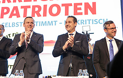 04.03.2017, Messe, Klagenfurt, AUT, FPÖ, 32. Ordentlicher Bundesparteitag, im Bild v.l.n.r. Mario Kunasek, Bundesparteiobmann Heinz Christian Strache und Norbert Hofer // at the 32nd Ordinary Party Convention of the Freiheitliche Partei Oesterreich (FPÖ) in Klagenfurt, Austria on 2017/03/04. EXPA Pictures © 2017, PhotoCredit: EXPA/ Wolgang Jannach