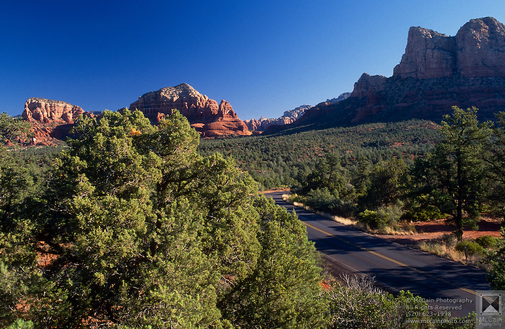 Bell Rock Vista with AZ Highway 179 at lower right, near Sedona, Arizona..Subject photograph(s) are copyright Edward McCain. All rights are reserved except those specifically granted by Edward McCain in writing prior to publication...McCain Photography.211 S 4th Avenue.Tucson, AZ 85701-2103.(520) 623-1998.mobile: (520) 990-0999.fax: (520) 623-1190.http://www.mccainphoto.com.edward@mccainphoto.com