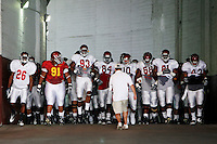 21 August 2008: Players walk the tunnel before the USC Trojans Pac-10 NCAA College football team final intrasquad scrimmage of fall camp in front of 8,000 fans in the Los Angeles Memorial Coliseum near school campus.  White team (1st and 2nd teamers) defeated the Cardinal (reserves) team 28-7 on Thursday.