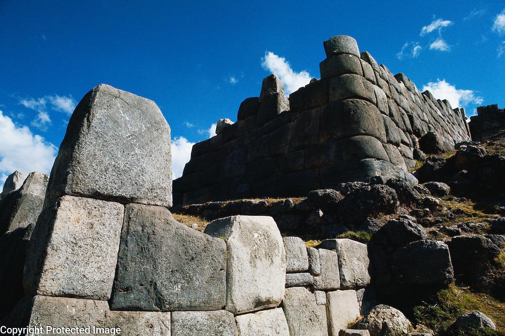 Ruins of Sacsayhuaman, Inca fortress made of huge blocks of stone near Cuzco, Peru.