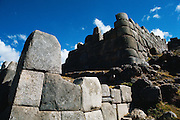 Ruins of Sacsayhuaman, Inca fortress made of huge blocks of stone near Cuzco, Peru.