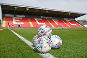 General View of St James Park with EFL branded football before the EFL Sky Bet League 2 match between Exeter City and Crawley Town at St James' Park, Exeter, England on 19 April 2019.