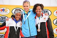 PORT ELIZABETH, SOUTH AFRICA - JULY 30: Lebogang Phalula, Irvette van Zyl and Mapaseka Makhanya during the SA Half Marathon Championships on July 30, 2016 in Port Elizabeth, South Africa. (Photo by Roger Sedres/Gallo Images)