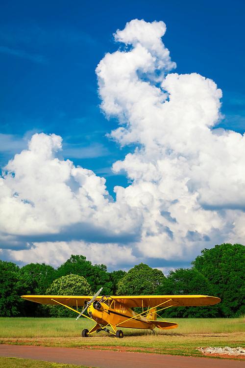 Ron Alexander's Piper J3 Cub, in the field at Peachstate Aerodrome in Williamson, Georgia.