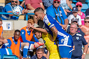 Wycombe Wanderers forward Scott Kashket (11) challenged by Gillingham FC defender Max Ehmer (5) during the EFL Sky Bet League 1 match between Gillingham and Wycombe Wanderers at the MEMS Priestfield Stadium, Gillingham, England on 14 September 2019.