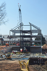 Alternate Vertical View, East Elevation with Crane erecting steel. Central Connecticut State University. New Academic Building. CT-DCS Project No: BI-RC-324 Architect: Burt Hill Kosar Rittelmann Associates. Contractor: Gilbane, Inc.