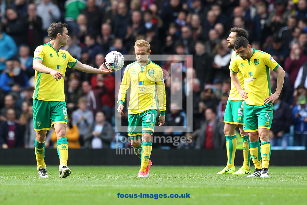 The Norwich players look dejected after conceding their side&rsquo;s 1st goal during the Sky Bet Championship match at Villa Park, Birmingham<br /> Picture by Paul Chesterton/Focus Images Ltd +44 7904 640267<br /> 01/04/2017