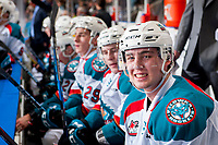 KELOWNA, CANADA - DECEMBER 30: Kole Lind #16 of the Kelowna Rockets sits on the bench against the Victoria Royals on December 30, 2017 at Prospera Place in Kelowna, British Columbia, Canada.  (Photo by Marissa Baecker/Shoot the Breeze)  *** Local Caption ***