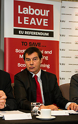 Pictured: Nigel Griffiths<br /> Former UK trade minister Nigel Griffiths and former SNP deputy leader Jim Sillars were joined by Gary Parker, SNP activist and Tom Burns, ASLEF member as they spoke on the EU's negotiations with the United States for the Transatlantic Trade and Investment Partnership and the effect it could have on Scottish public services<br /> <br /> Ger Harley | EEm 30 May  2016
