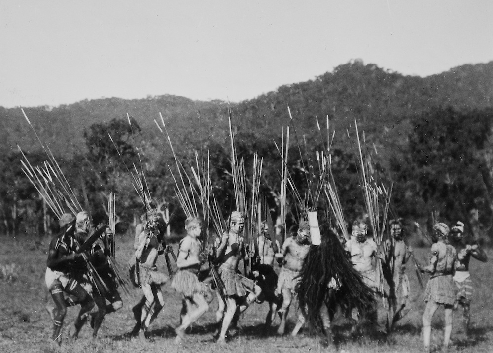 Aboriginal dance with spears, Palm Island, Queensland, Australia, 1930