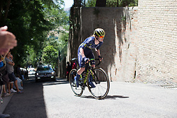Alexandra Manly (AUS) of Orica Scott Cycling Team rides near the top of the final climb of Stage 5 of the Giro Rosa - a 12.7 km individual time trial, starting and finishing in Sant'Elpido A Mare on July 4, 2017, in Fermo, Italy. (Photo by Balint Hamvas/Velofocus.com)