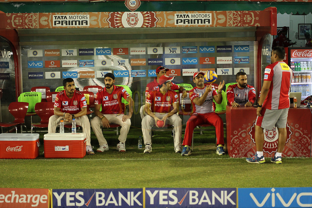 Virender Sehwag of Kings XI Punjab with team players in dugout during match 39 of the Vivo Indian Premier League ( IPL ) 2016 between the Kings XI Punjab and the Royal Challengers Bangalore held at the IS Bindra Stadium, Mohali, India on the 9th May 2016<br /> <br /> Photo by Arjun Singh / IPL/ SPORTZPICS
