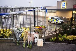 © Licensed to London News Pictures. 22/12/2017. Skipton UK. A 30 year old woman has died after she was stabbed in an Aldi supermarket in Skipton. North Yorkshire Police have arrested a 44 year old man on suspicion of murder following the attack shortly before 3:30 pm on Thursday. Photo credit: Andrew McCaren/LNP