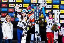 05.01.2018, Lackenhof, AUT, FIS Weltcup Snowboard, Lackenhof, Parallel Riesentorlauf, Damen, Siegerehrung, im Bild v.l. Landeshauptfrau Johanna Mikl- Leitner (ÖVP), Julia Dujmovits (2. Platz, AUT), Siegerin Ester Ledecka (CZE), Ladina Jenny (3. Platz, SUI) // f.l. governor of Lower Austria Johanna Mikl- Leitner 2nd placed Julia Dujmovits of Austria winner Ester Ledecka of Czech Republic 3rd placed Ladina Jenny of Switzerland during the Winner award ceremony for the ladie's Parallel Giant Slalom of FIS Snowboard World Cup at the Lackenhof, Austria on 2018/01/05. EXPA Pictures © 2018, PhotoCredit: EXPA/ Sebastian Pucher