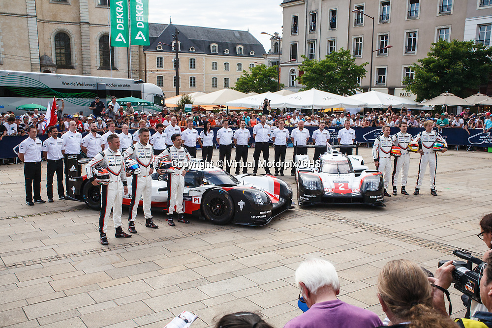 #1,  Porsche Team, Porsche 919 Hybrid, driven by: Neel Jani, Andre Lotterer, Nick Tandy, #2,  Porsche Team, Porsche 919 Hybrid, driven by: Timo Bernhard, Earl Bamber, Brendon Hartley, on 11/06/2017 Scrutineering at the 24H of Le Mans, 2017