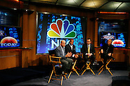 "Former New York Giants running back Tiki Barber(2ndL) sits with NBC President Jeff Zucker(L) , NBC Universal Sports Chairman Dick Eberso(R)l, and NBC News President Steve Capus(2nd R) as he is introduced as a news correspondent for NBC's ""The Today Show"" at a press conference in New York, February 13, 2007. Barber will also be a sports analysts for NBC's ""Football Night in America""."