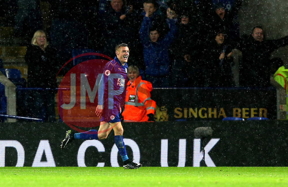 Jamie Vardy of Leicester City celebrates scoring a goal to complete his hat-trick - Mandatory by-line: Robbie Stephenson/JMP - 10/12/2016 - FOOTBALL - King Power Stadium - Leicester, England - Leicester City v Manchester City - Premier League