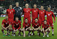 Football - Carling Nations Cup - Republic of Ireland vs. Wales<br />  <br /> Wales team group L to R Sam Ricketts, Wayne Hennessey,James Collins, Danny Collins, Neal Eardley, Robert Earnshaw Front row - Hal Robson-Kanu, Simon Church, Andy King, Andrew Crofts and David Vaughan before the Republic of Ireland vs. Wales Carling Nations Cup at The Aviva Stadium