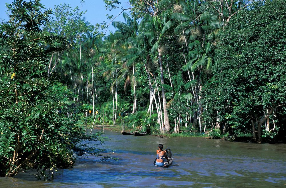 Canoe on Amazon River, Ilha do Marajo, Amazon Delta, Amazonia, Brazil