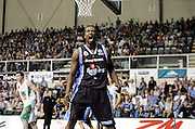 Breakers forward Carlos Powell calls oout to the fans during the ANBL match between the NZ Breakers and the Townsville Crocodiles at the North Shore Events Centre, Auckland, New Zealand, on Thursday 21 December, 2006. Photo: Andrew Cornaga/PHOTOSPORT.<br />