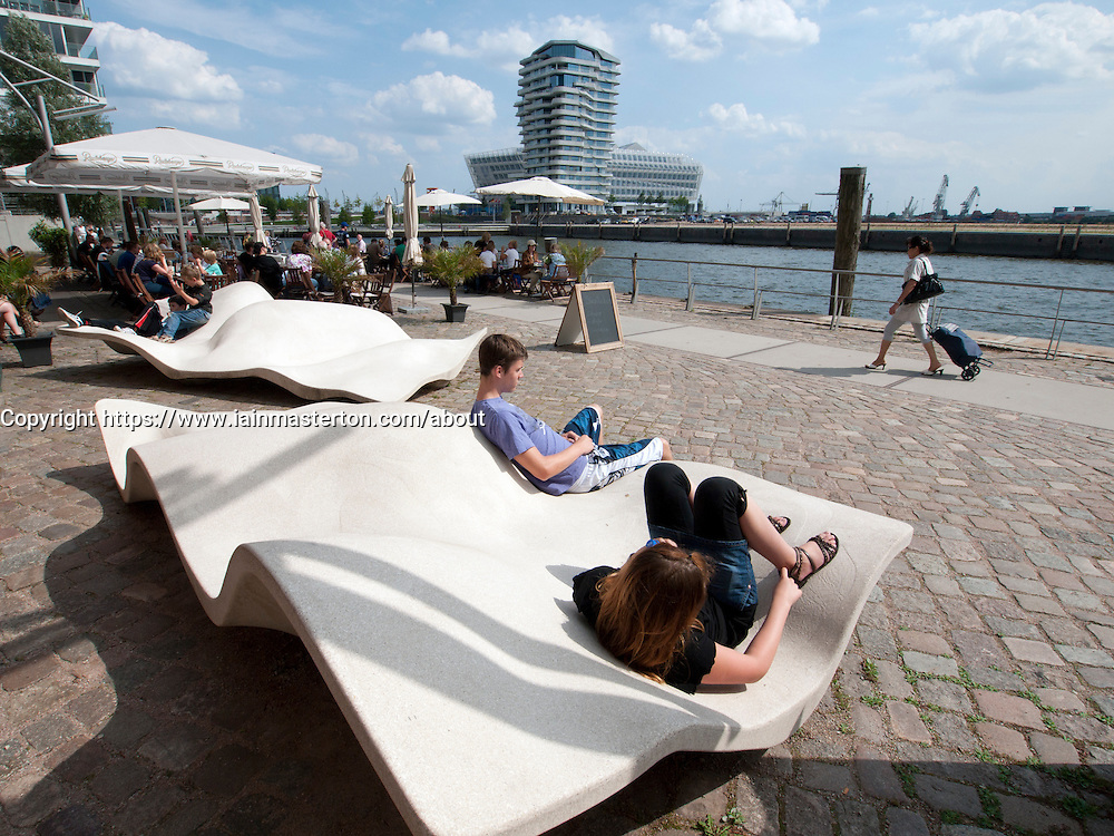 Modern promenade at Vasco Da Gamma Platz in new Hafencity property development in Hamburg Germany