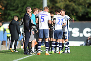 Bury players huddle during the EFL Sky Bet League 2 match between Bury and Mansfield Town at the JD Stadium, Bury, England on 6 October 2018.