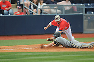 Ole Miss' Andrew Mistone (25) tags out Vanderbilt's Vince Conde (3) at Oxford-University Stadium Stadium in Oxford, Miss. on Sunday, April 7, 2013. Vanderbilt won 7-6 in 11 innings.