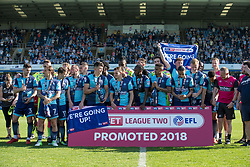 Free to use courtesy of Sky Bet, Players celebrate being promoted to League One -- Mandatory by-line: Jason Brown/JMP - 05/05/2018 - FOOTBALL - Adam's Park - High Wycombe, England - Wycombe Wanderers v Stevenage - Sky Bet League Two