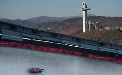 USA's Justin Krewson and Andrew Sherk during the Men's Double Luge practice during day three of the PyeongChang 2018 Winter Olympic Games in South Korea. PRESS ASSOCIATION Photo. Picture date: Monday February 12, 2018. See PA story OLYMPICS Luge. Photo credit should read: David Davies/PA Wire. RESTRICTIONS: Editorial use only. No commercial use.
